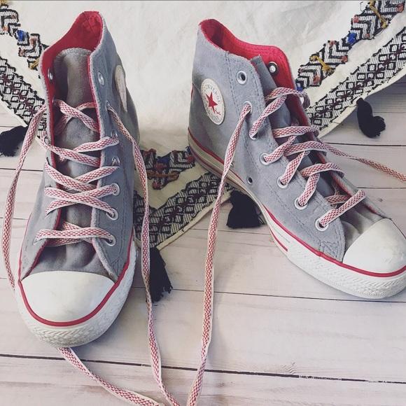 En cualquier momento aburrido claridad  Converse Shoes | Gray And Red Velvet And Silk Converse All Stars | Poshmark